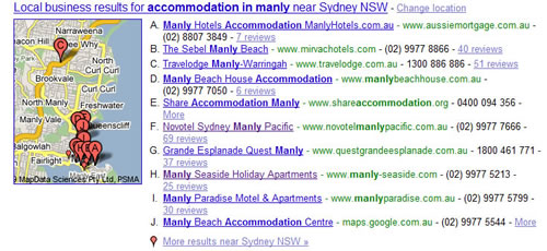 Local Business Results Manly Accommodation